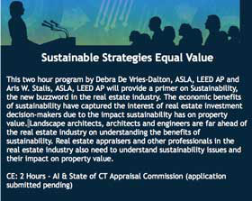 Sustainable Strategies lecture announcement for the Appraisal Institure